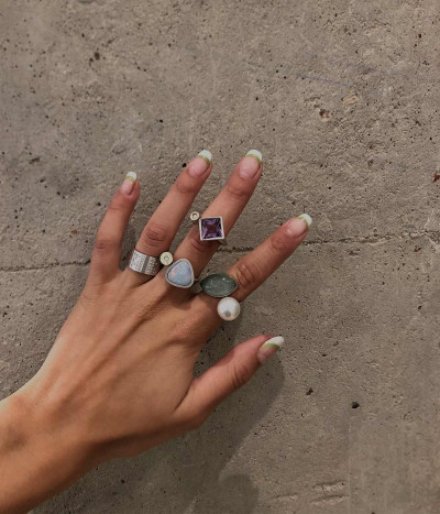 Anillo perla australiana y cuarzo rutilado