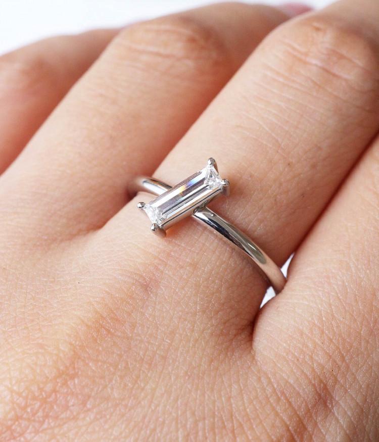 Platinum and beam baguette diamonds ring